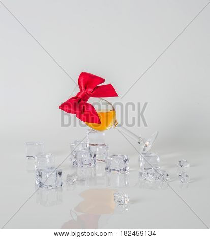 Single Malt Tasting Glass, Single Malt Whisky In A Glass, White Background, Ice Cubes