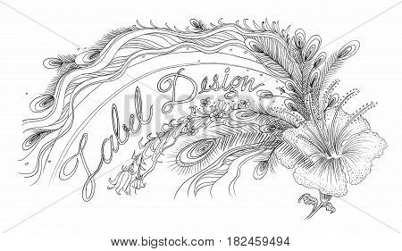 Peacock and Chinese rose sign and logo has simple word is beautiful lable design abstract design pencil hand drawn black and white color.