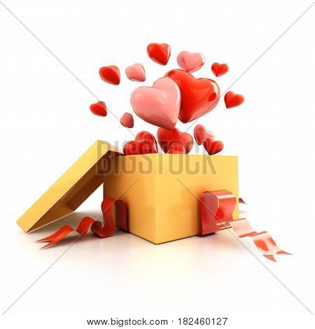 Open gift box with flying hearts over white. 3d illustration.