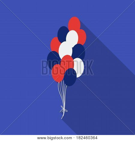 Patriotic balloons icon in flat style isolated on white background. Patriot day symbol vector illustration.