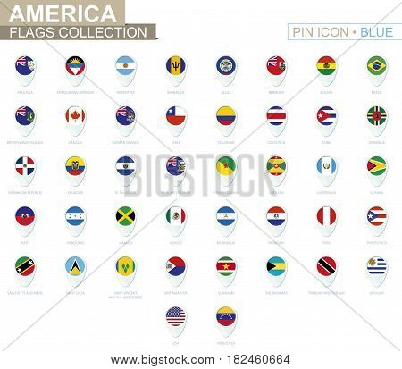 America Flags Collection. Big Set Of Blue Pin Icon With Flags.