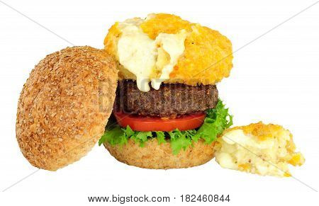 Mac and cheese beefburger sandwich isolated on a white background
