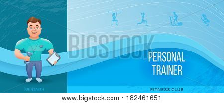 Fitness banner or flyer with personal trainer or bodybuilder.Vector illustration with cartoon character.