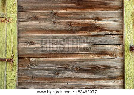 Old wood planks frame. Vintage colored abandoned fence planks backdrop for rustick banner.