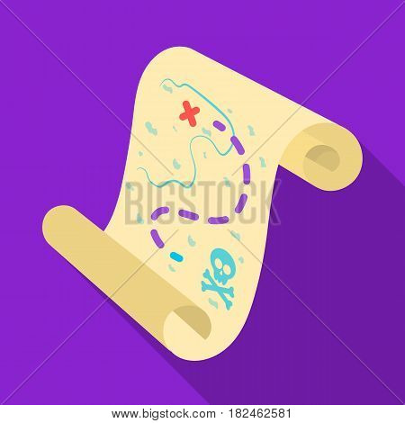 Pirate treasure map icon in flat style isolated on white background. Pirates symbol vector illustration.