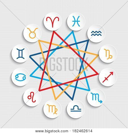 Vector Zodiac signs. Set of simple volumetric zodiac signs.