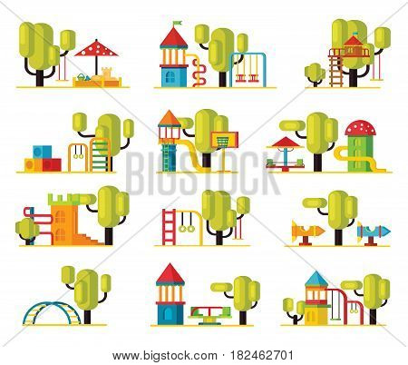 Colorful playground elements collection with swing slides ladders sandbox carousels and green trees isolated vector illustration