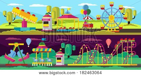 Amusement park horizontal banners with ticket windows booth ferris wheel roller coaster carousels and swing vector illustration