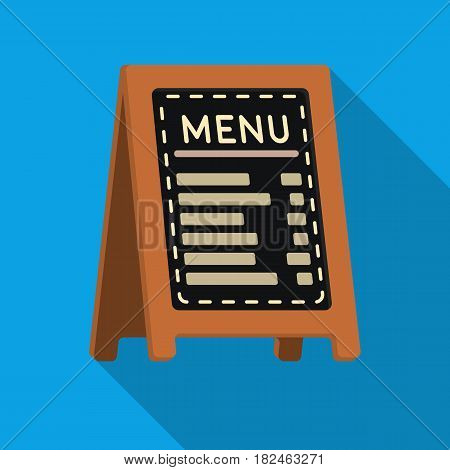 Menu of pizzeria icon in flat style isolated on white background. Pizza and pizzeria symbol vector illustration.