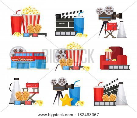Colorful cinema elements set with building camera filmstrip megaphone glasses popcorn soda tickets director chair isolated vector illustration