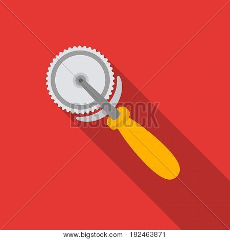 Pizza cutter icon in flat style isolated on white background. Pizza and pizzeria symbol vector illustration.