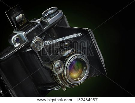 ROSTOV , RUSSIA, APRIL 5, 2017. The old Soviet rangefinder camera. The camera of the 1920-1930 release. Manufacturer of the USSR