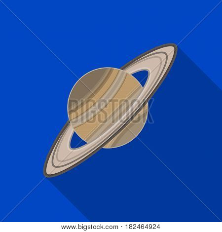 Saturn icon in flat design isolated on white background. Planets symbol stock vector illustration.