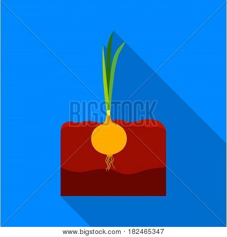 Onion icon flat. Single plant icon from the big farm, garden, agriculture flat.