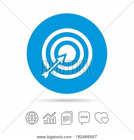 Target aim sign icon. Darts board with arrow symbol. Copy files, chat speech bubble and chart web icons. Vector