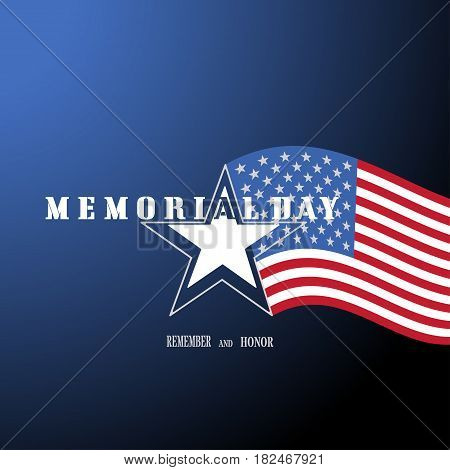 Vector poster of Memorial Day with label in the shape of a star with american flag on the gradient blue background.