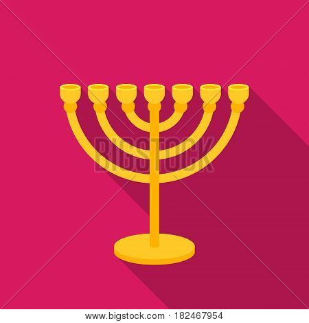 Menorah icon in flat style isolated on white background. Religion symbol vector illustration.