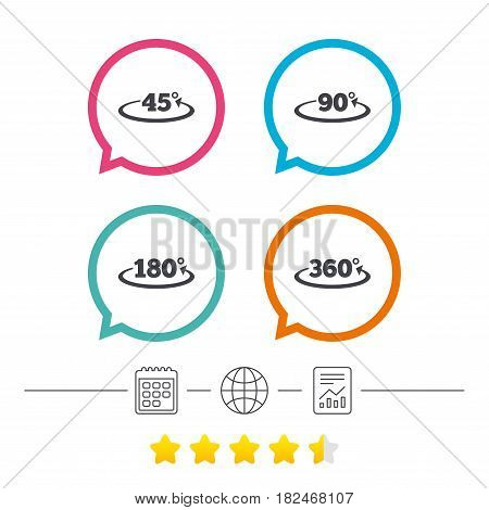 Angle 45-360 degrees icons. Geometry math signs symbols. Full complete rotation arrow. Calendar, internet globe and report linear icons. Star vote ranking. Vector