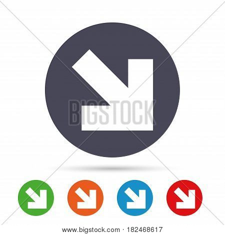 Arrow sign icon. Next button. Navigation symbol. Round colourful buttons with flat icons. Vector