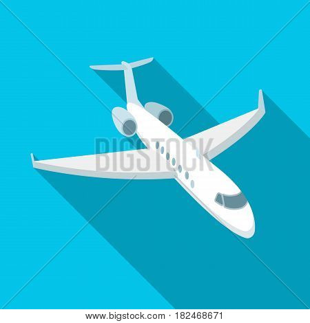 Airplane icon in flat design isolated on white background. Rest and travel symbol stock vector illustration.
