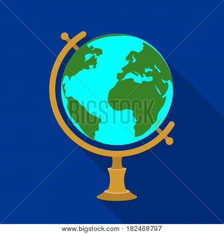 Globe icon in flat design isolated on white background. Rest and travel symbol stock vector illustration.