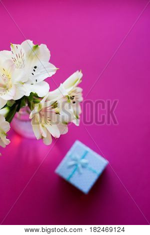 Beautiful Tender Bouquet Of Alstroemeria With Bkue Gift Box
