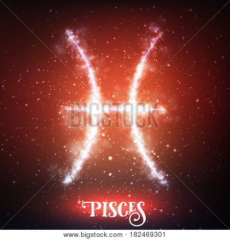 Vector abstract zodiac sign Pisces on a dark red background of the space with shining stars. Nebula in form of zodiac sign Pisces. Abstract glowing zodiac sign Pisces, The Fish Greek: Ikhthyes