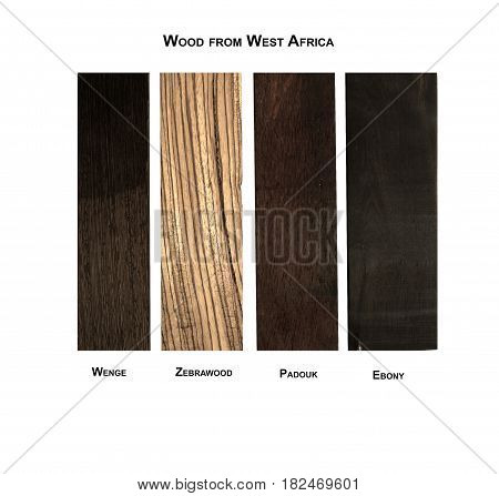 Wood samples from West Africa- Wenge, Zebrawood, Padouk and Ebony