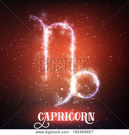 Vector abstract zodiac sign Capricorn on a dark red background of the space with shining stars. Nebula in form of Capricorn. Glowing sign Capricorn, Goat-horned, The Sea-Goat