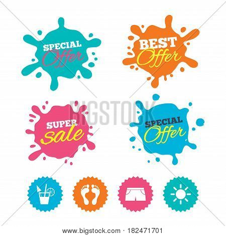 Best offer and sale splash banners. Beach holidays icons. Cocktail, human footprints and swimming trunks signs. Summer sun symbol. Web shopping labels. Vector