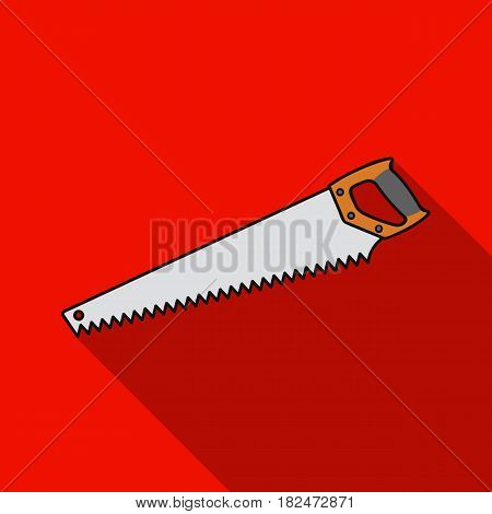 Hand saw icon in flat style isolated on white background. Sawmill and timber symbol vector illustration.
