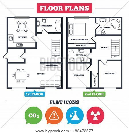 Architecture plan with furniture. House floor plan. Attention and radiation icons. Chemistry flask sign. CO2 carbon dioxide symbol. Kitchen, lounge and bathroom. Vector