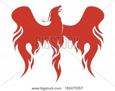 the mythical Phoenix spreading its fiery wings vector illustration