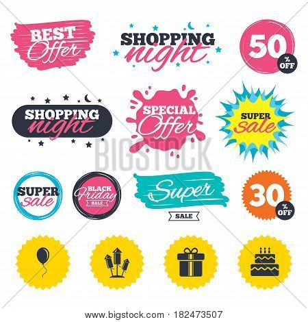 Sale shopping banners. Special offer splash. Birthday party icons. Cake and gift box signs. Air balloons and fireworks rockets symbol. Web badges and stickers. Best offer. Vector