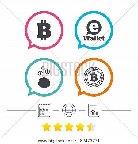 Bitcoin icons. Electronic wallet sign. Cash money symbol. Calendar, internet globe and report linear icons. Star vote ranking. Vector