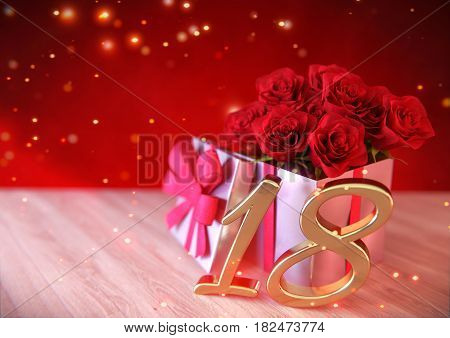 birthday concept with red roses in gift on wooden desk. 3D render - eighteenth birthday. 18th