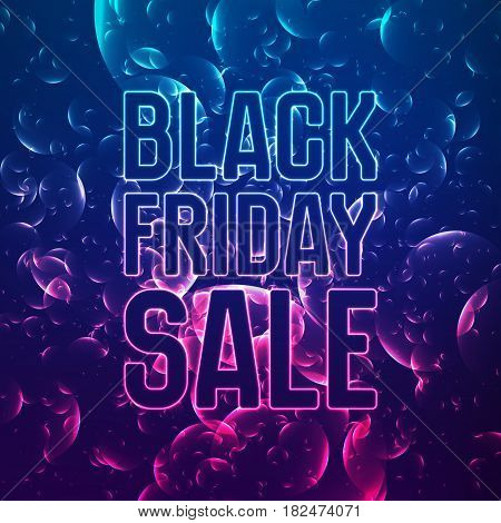 Vector Black Friday Sale abstract background of shining bubbles. Vector illustration on violet background. Abstract violet bubbles.