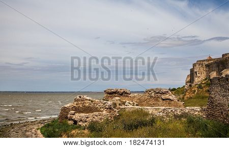 Akkerman (Bilhorod-Dnistrovskyi) fortress in Ukraine. View from the fortress to the Dniester Estuary.