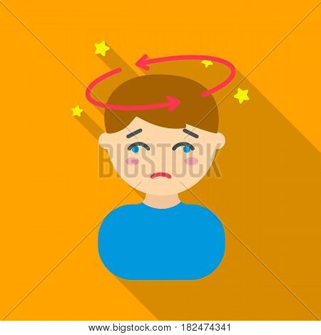Dizziness icon flate. Single sick icon from the big ill, disease flate stock vector