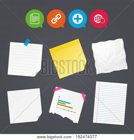 Business paper banners with notes. Plus add circle and hyperlink chain icons. Document file and globe with hand pointer sign symbols. Sticky colorful tape. Speech bubbles with icons. Vector
