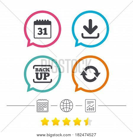 Download and Backup data icons. Calendar and rotation arrows sign symbols. Calendar, internet globe and report linear icons. Star vote ranking. Vector
