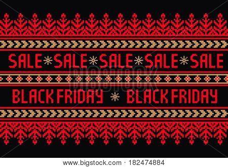 Black friday design with ethnic ornament . Eastern europe ethnic ornament. Vector border element. Elegant folk sale banner design for you products.