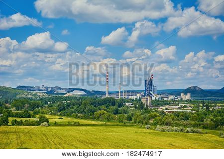 Cement Plant under the Cloudy Sky in Bulgaria