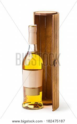 Bottle of white wine and wooden box over white background
