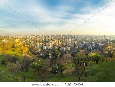 Panoramic View Of Bergamo City, Lombardy, Italy