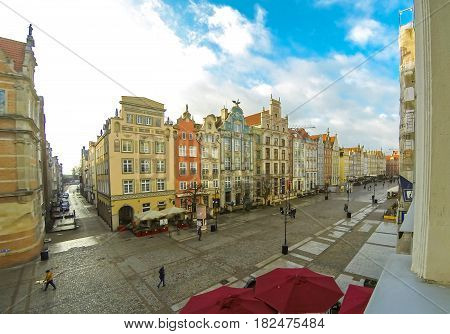 Long Market street (Polish: Dlugi Targ) in Gdansk Poland. Famous pedestrianised street lined with scenic Renaissance buildings in the Old Town of Gdansk