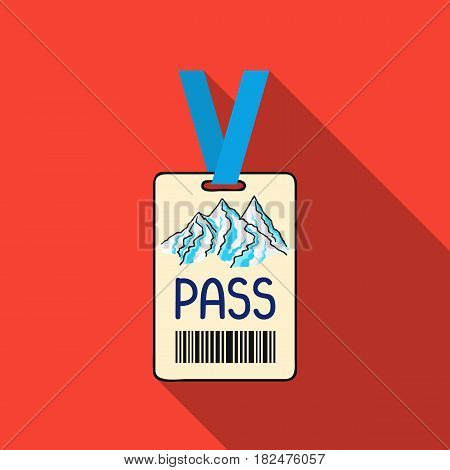 Ski pass icon in flate style isolated on white background. Ski resort symbol vector illustration.