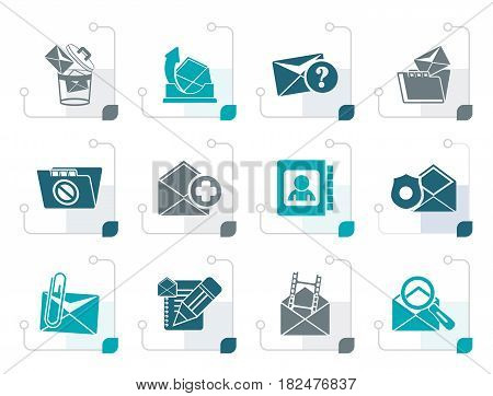 Stylized E-mail and Message Icons - vector icon set