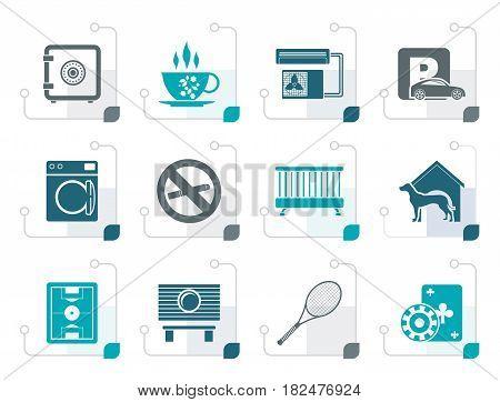 Stylized hotel and motel amenity icons - vector icon set