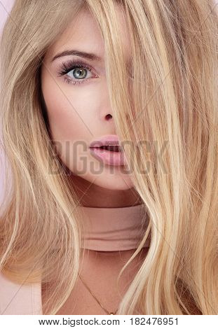 Beauty Portrait Of Blonde Natural Woman.